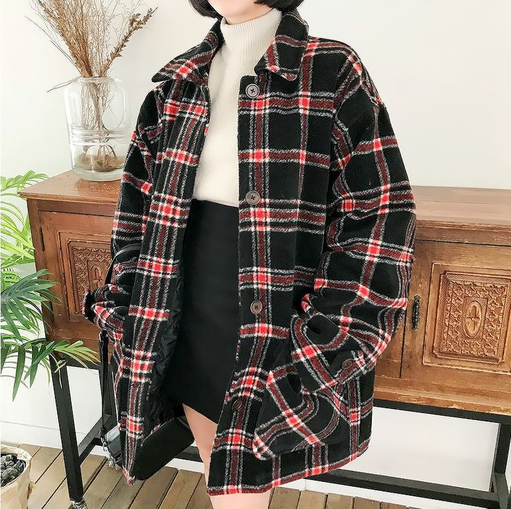 """""""merongshop - boxy fit plaid long coat currently 30% off on sale """""""