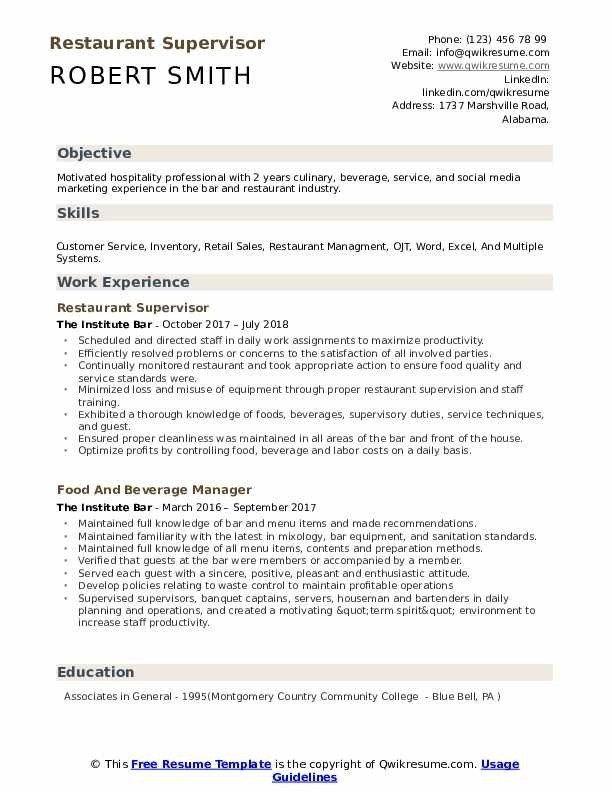 Restaurant Supervisor Resume Samples Qwikresume Resume Template Restaurant Management Restaurant Resume