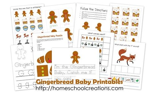 Free gingerbread baby printables pack gingerbread for Christmas themed activities for kids