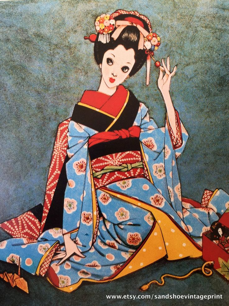 1960s JUNICHI NAKAHARA Big Eyed Girl in KIMONO Print Perfect for Framing by sandshoevintageprint on Etsy