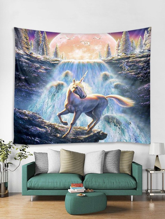 Waterfall Unicorn Print Tapestry Wall Hanging Art Decoration Home
