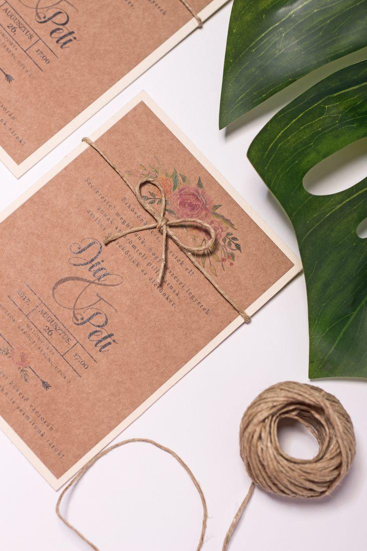 Rustic / vintage style wedding invitation card design created by Zboznovits visuals.