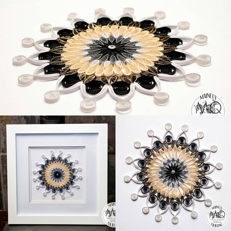 Mandala in white cream gold silver black and grey paper quillingpaper artart