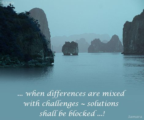... when differences are mixed with #challenges ~ #solutions shall be blocked ...!