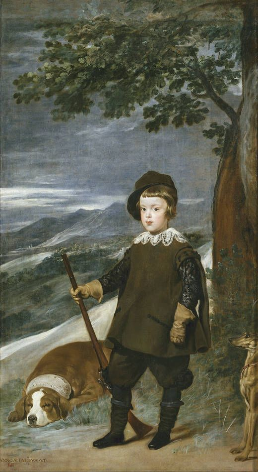 'Prince Baltasar Carlos as a Hunter' - Author Velázquez, Diego Rodríguez de Silva y - Procedence Colección Real -- Prince Baltasar Carlos was the son of Felipe IV and Isabel de Bourbon. Born in 1629 and died in 1646, all hopes for the dynasty were dashed by his early death. Hunting was considered an appropriate activity for training the monarchs, and the prince proved especially skillful from a very early age.