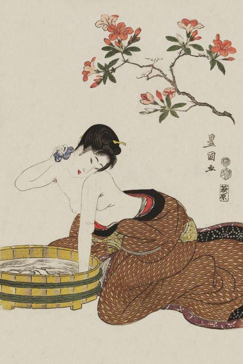 1800. Utagawa Toyokuni I (1769-1825) – mujer bañandose bajo flores, woodblock del Ukiyo-e impresión