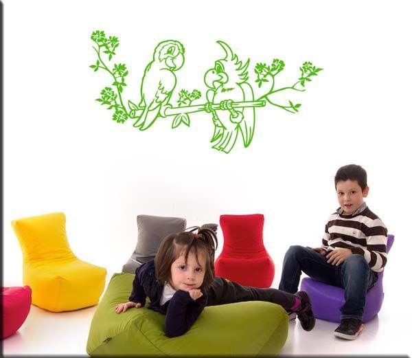 Adesivi murali pappagalli bambini sono simpatiche decorazioni adesive da parete adesivi - Decorazioni parete bambini ...