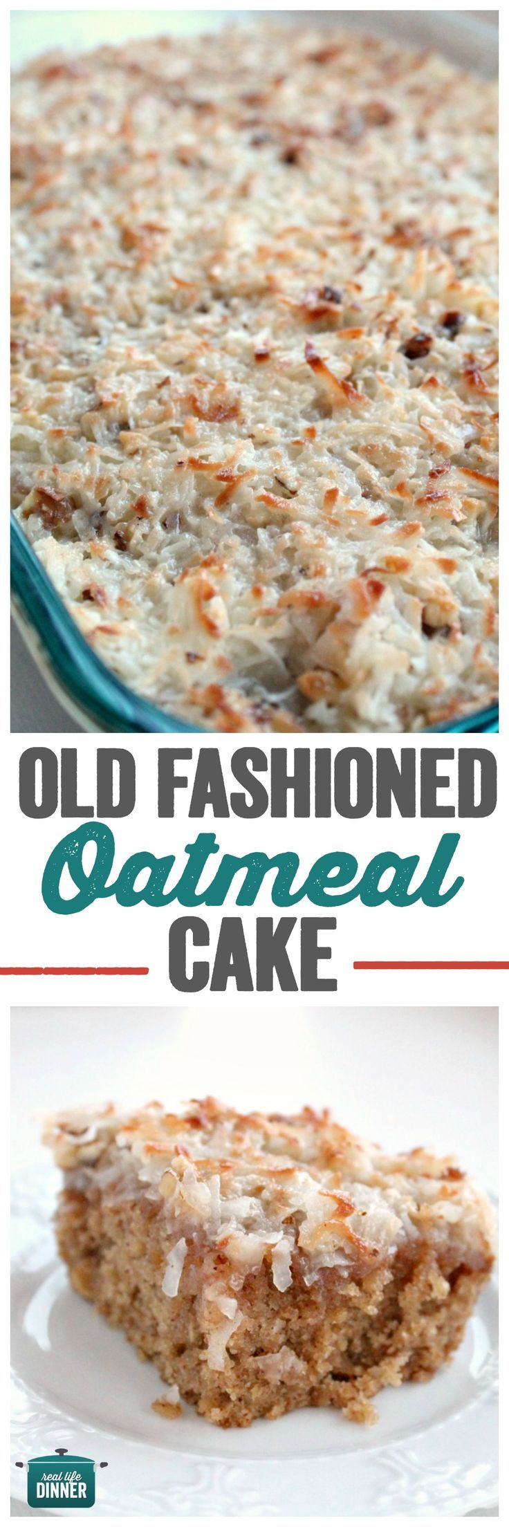 Long Lost Recipe for Awesome Old Fashioned Oatmeal Cake. This is so delicious!!! No mixer needed. ~ http://reallifedinner.com
