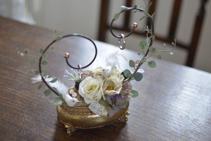 アンティーク調の器に小鳥が可愛い手作りリングピロー/フェリス - feliz - ゴールド