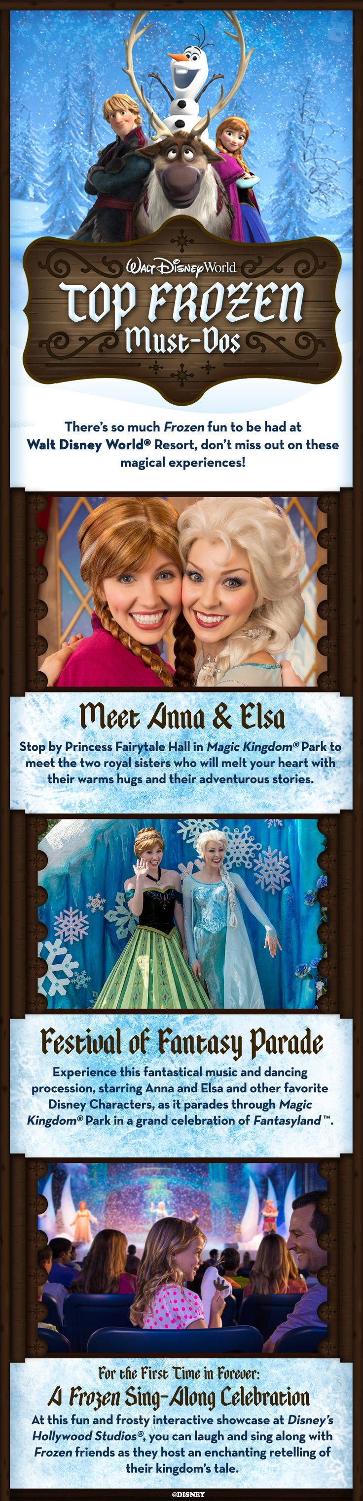 "There's so much Frozen fun to be had at Walt Disney World Resort, don't miss out on these ""Top Frozen Must-Do's"" that the entire family will enjoy!"