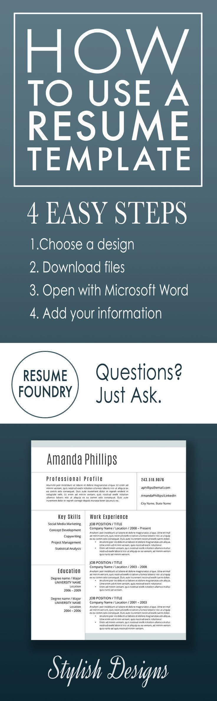 How to fill out a resume template in four easy steps.