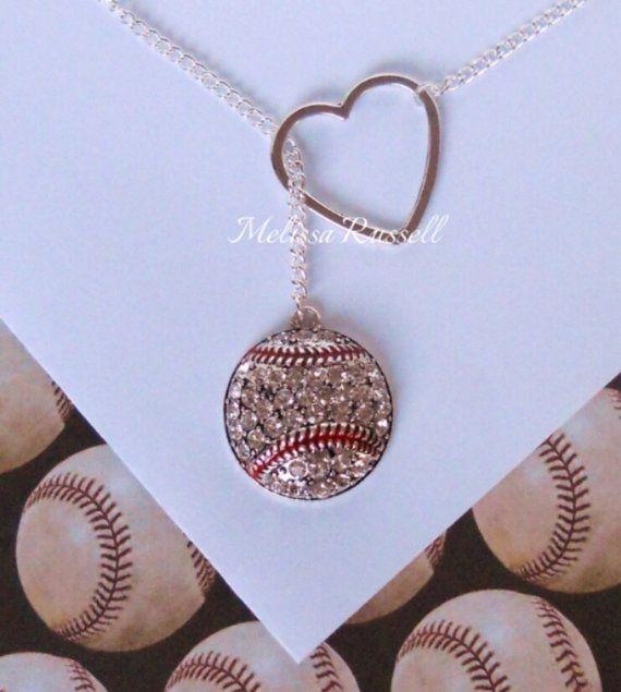 Honkbal Lariat ketting met strass & hart door MelissaMarieRussell