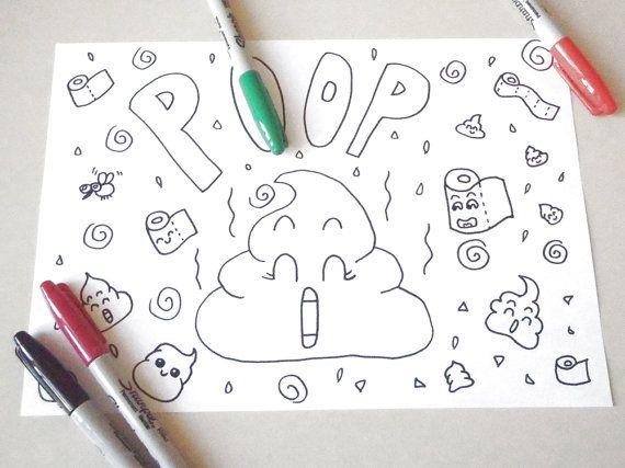 Kawaii Poop Coloring Chibi Poo Kids Children Funny Nice Cute Anime Manga Japanese Baby Download Colouring