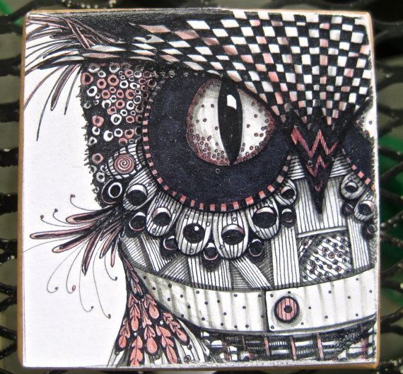 Ink Drawing Owl picture block on wood | Ink, Owl pictures ...