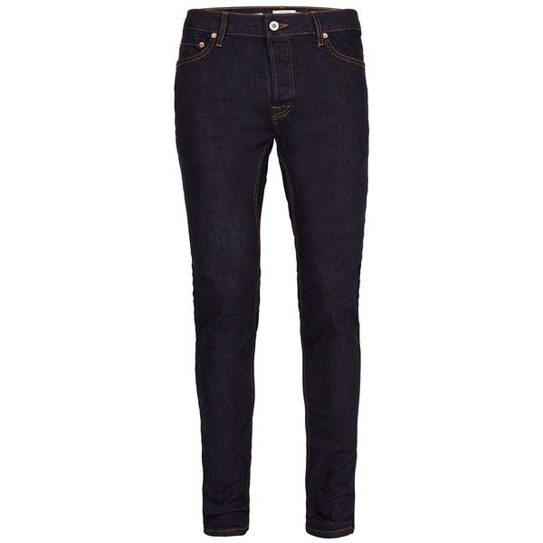 TOPMAN Indigo Stretch Skinny Jeans (£30) ❤ liked on Polyvore featuring men's fashion, men's clothing, men's jeans, blue, mens super skinny stretch jeans, mens stretchy jeans, mens tapered leg jeans, mens skinny jeans and mens skinny fit jeans