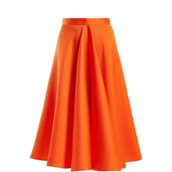 Maison Rabih Kayrouz High-waisted satin full skirt ($1,527) ❤ liked on Polyvore featuring skirts, orange, high-waisted skirt, high rise skirts, pleated skirt, neon skirts and satin pleated skirt