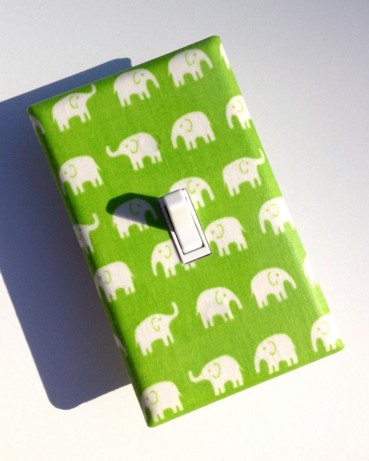 Lime Green Elephant Light Switch Plate / Kawaii Baby Boy Girl / Nursery Decor / Unisex Gender Neutral / Kids Room / Tiny Tip Top Fabric. $9.00, via Etsy.
