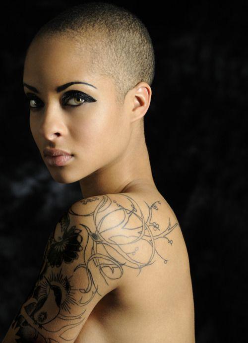Tumblr bald | black woman shaved head tattoo make up gorgeous