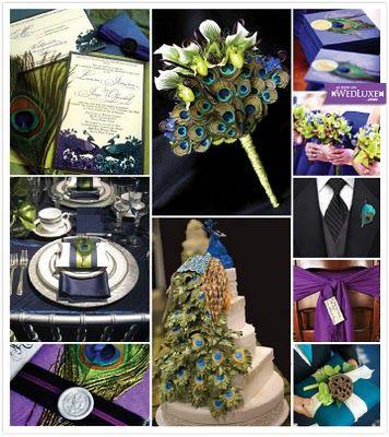 Peacock Wedding Theme I Like The Navy Deep Green And Purple Colors Pair