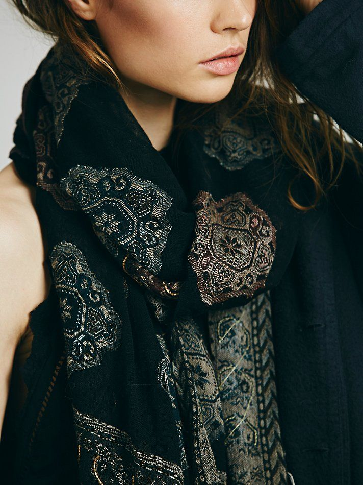 Free People Patchwork Leather Fringe Scarf at Free People Clothing Boutique