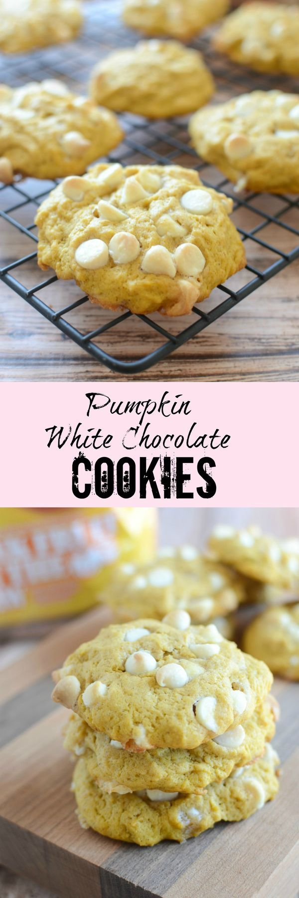 Pumpkin White Chocolate Cookies - the most delicious pumpkin cookies recipe! A must make!