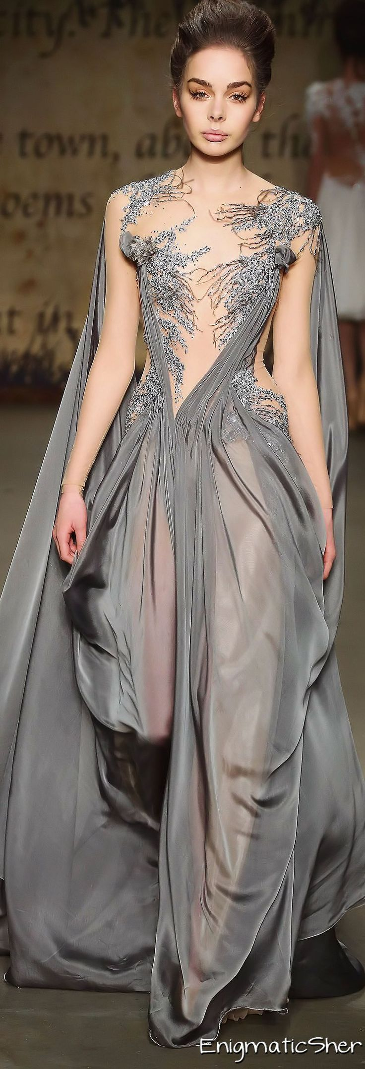 Asymetric draping and woodland embroidery over sheer sections (Edwin Oudshoorn)