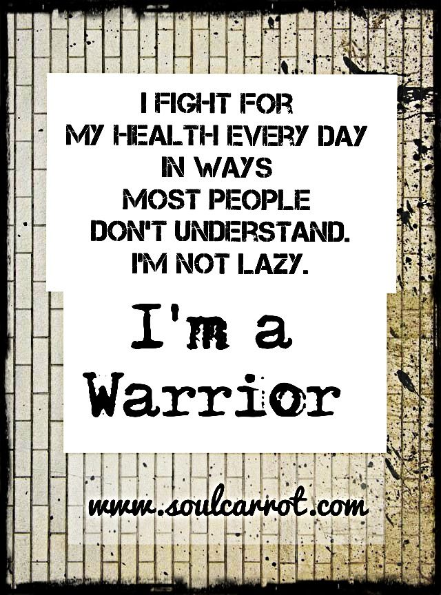 I fight for my health in ways most people don't understand. I'm not lazy. I'm a Warrior. #infertility  #niaw