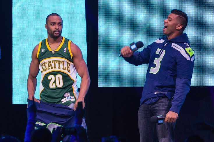 As a child, Seahawks quarterback Russell Wilson became a fan of the Seattle SuperSonics by playing a video game. Now he's attempting to bring the Sonics back to the Emerald City in real life.