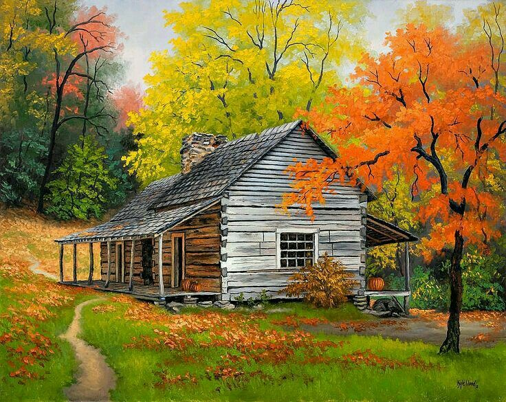 Pin By Harriet Paley On Paisaje Barn Painting Landscape Paintings Autumn Painting