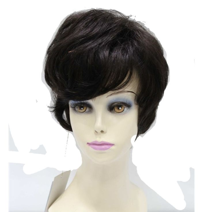 42.12$  Watch here - http://aliaoc.worldwells.pw/go.php?t=32659302566 - Short Wavy Natural Black Color 100% Hu man Hair Capless Wigs For Women About  8 Inches