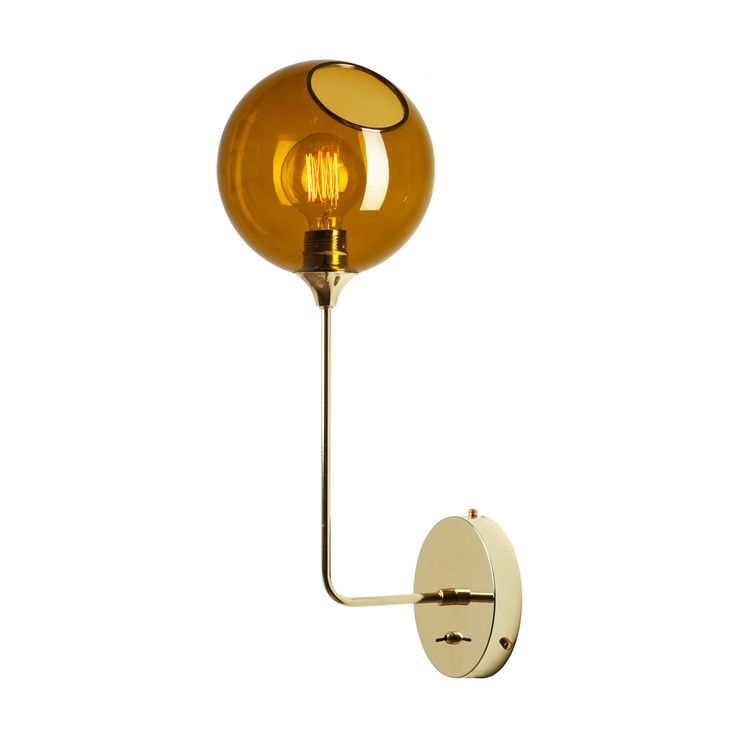 LARGE BALLROOM WALL LAMP IN GOLD WITH AMBER GLASS