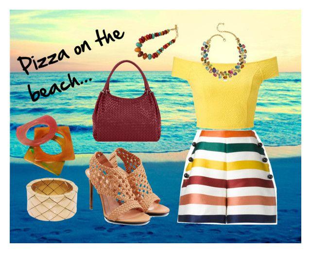 """Sorrento, pizza on the beach..."" by carmen-zanolli-ochiulet ❤ liked on Polyvore featuring Carolina Herrera, Roland Mouret, Miss Selfridge, Bottega Veneta, Yves Saint Laurent, Chanel and Forzieri"