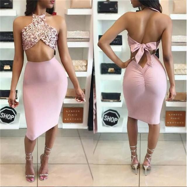 Distinctive Pink Halter Backless Strapless Golden Petite Party Dress Two Piece Summer Bodycon Party Dresses