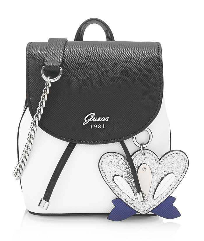 Guess Bag Collection Spring Summer 2018 - black and white backpack with a  chain 4d74045aa7fe3