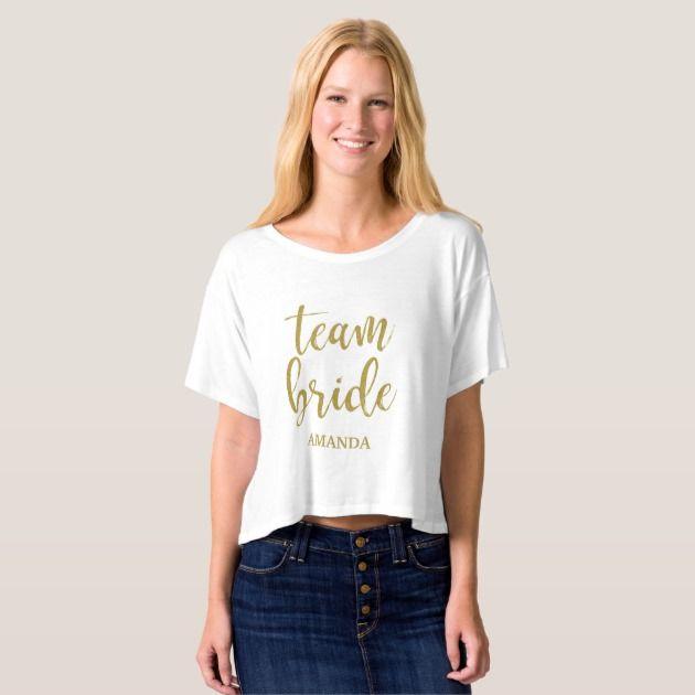Team Bride Gold Glitter Shirt #Wedding #BridalShower #Bachelorette #Tees #Shirts #Tshirt