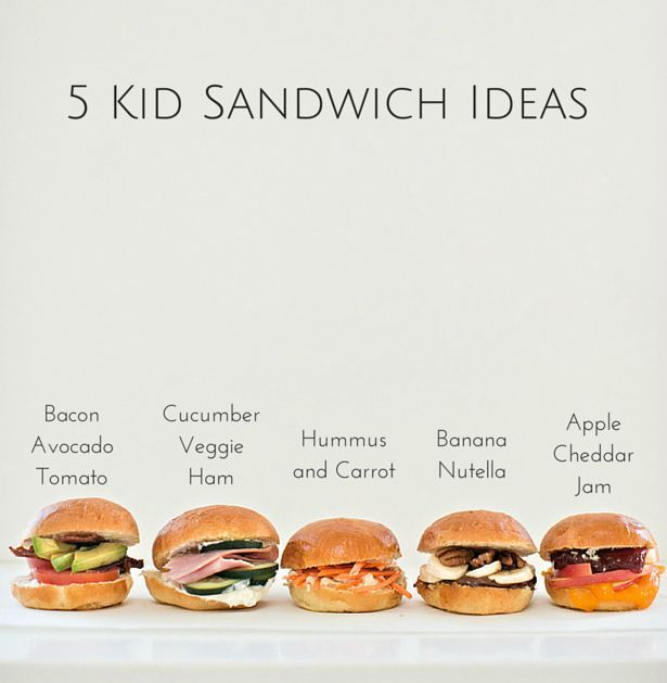 5 Easy Sandwich Ideas for kids. Great for back to school.