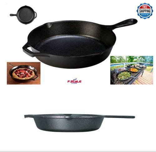 large-Lodge-Cast-Iron-Skillet-Griswold-Pan-Fry-Bake-Heat-Cookware-Pot-Saute-Hot