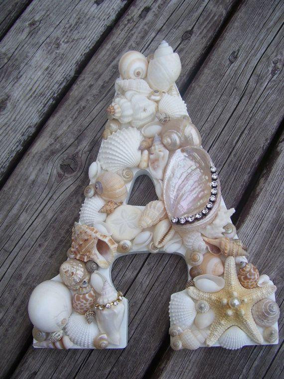 Shell Covered Letters/Initials, Beach Wedding Gift Idea, Beach Themed Decor. $45.00, via Etsy.