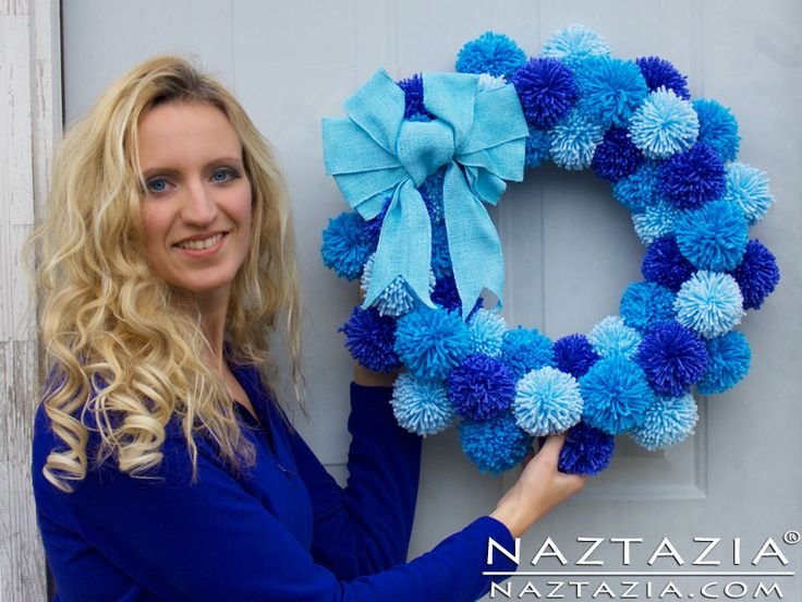 DIY Tutorial Free Pattern Easy Simple Yarn Pom Pom Pompom Wreath for Room House Door from Naztazia with YouTube Tutorial Video More Info on http://naztazia.com