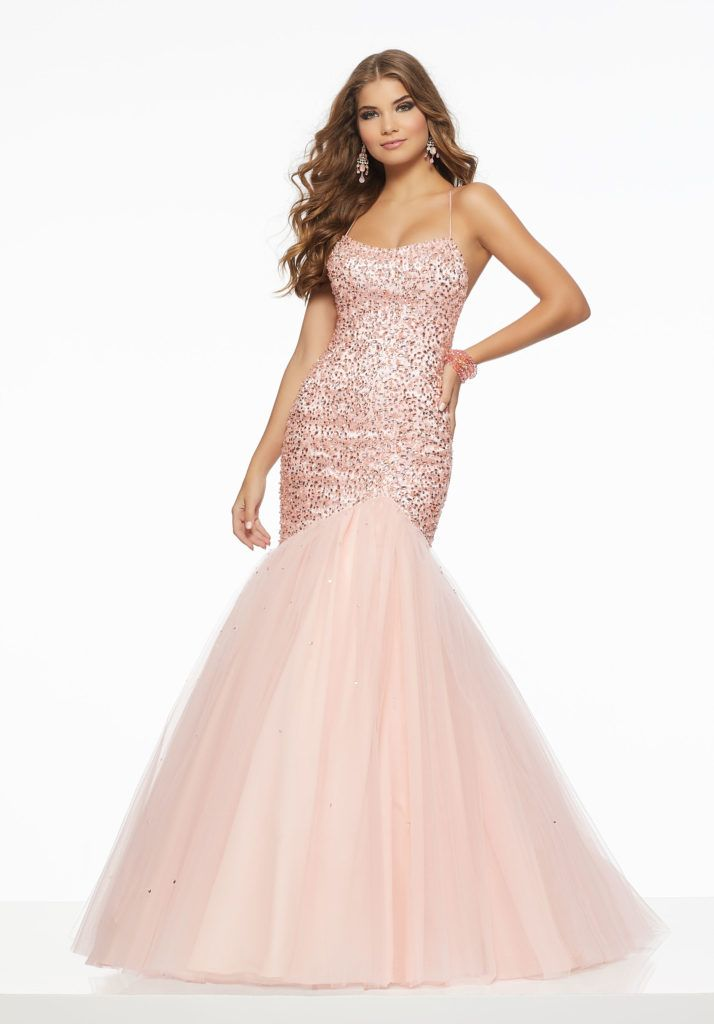 d265d63352e Form Fitting Mermaid Prom Dress Featuring a Tonal Beaded Bodice with Simple  Tulle Skirt