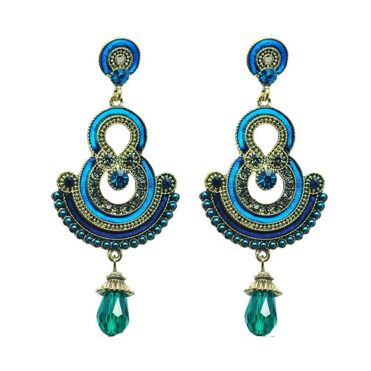 Luxury brincos ouro  New female pendientes Bohemian jewelry Retro Vintage crystal long earrings for women Jewelry Blue