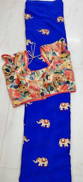 Chinnon chiffion with readymade blouse | Buy online Chiffon Sarees | Elegant Fashion Wear