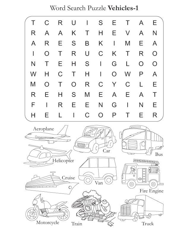 Word Search Puzzle Vehicles 1