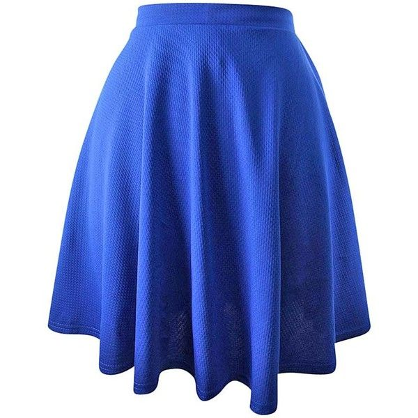 Royal Blue Short Flared Skater Skirt (31 CAD) ❤ liked on Polyvore featuring sk…