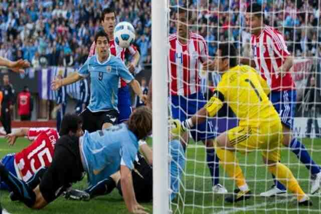 Uruguay 3 Paraguay 0 in 2011 in Buenos Aires. Luis Suarez sees his effort just go wide of the post in the Final of Copa America.
