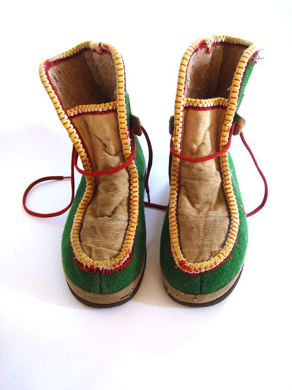 Authentic Vintage Soviet design green felt winter boots for kids, USSR via Etsy