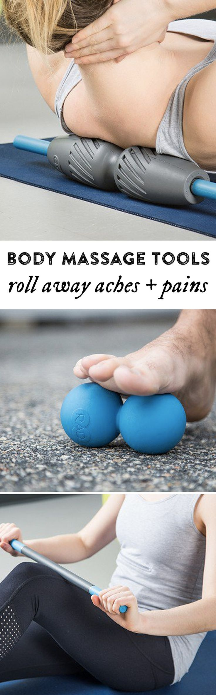 These ergonomic massagers are made to target muscles and soft tissues more easily. By slowly and steadily rolling them over or under different parts of your body, you can help free up movement and even clean out toxins.