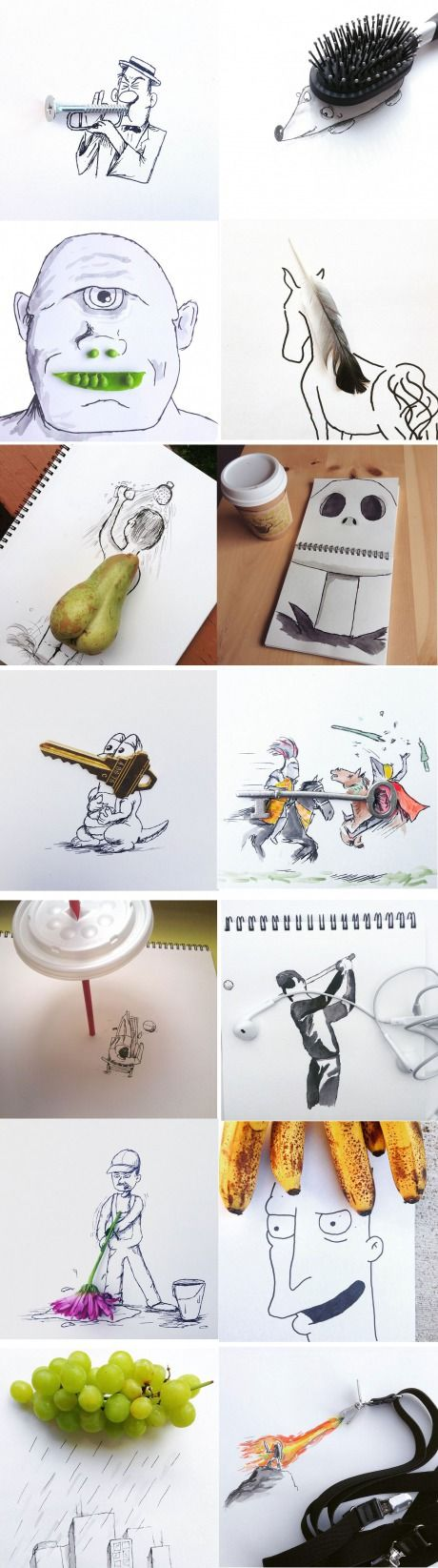 Artist created pictures with creativity and some everyday items.