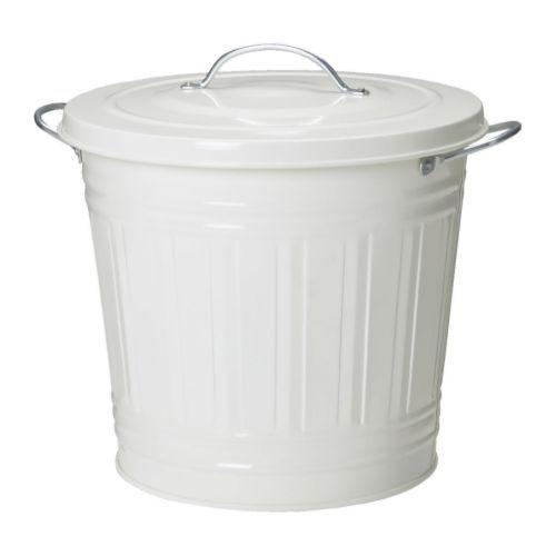 IKEA - KNODD, ふた付き容器, 16 l, ホワイト, , 室内のあらゆる場所で活躍します。洗面所などの湿気の多い場所や屋根のあるベランダでも使用できます