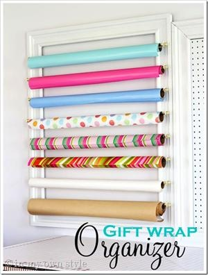 How To Organize Gift Wrap: Organizations Ideas, Gifts Wraps Storage, Crafts Rooms, Curtains Rods, Diy Gifts, Wraps Organizations, Organizations Gifts Wraps, Pictures Frames, Wraps Paper